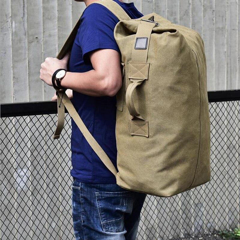 Spor ve Eğlence'ten Tırmanma Çantaları'de 2018 Çok amaçlı Askeri keten sırt çantası Düz Renk Erkekler Haftasonu Spor Seyahat silindir çanta Açık Taktik Sırt Çantası title=