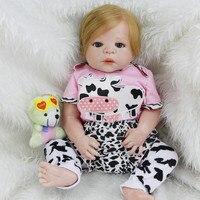 Новый Дизайн Reborn Baby Doll 23 дюймов для новорожденных девочек младенцев с корнями реальных человеческих волос полный силиконовые Винил Куклы Д