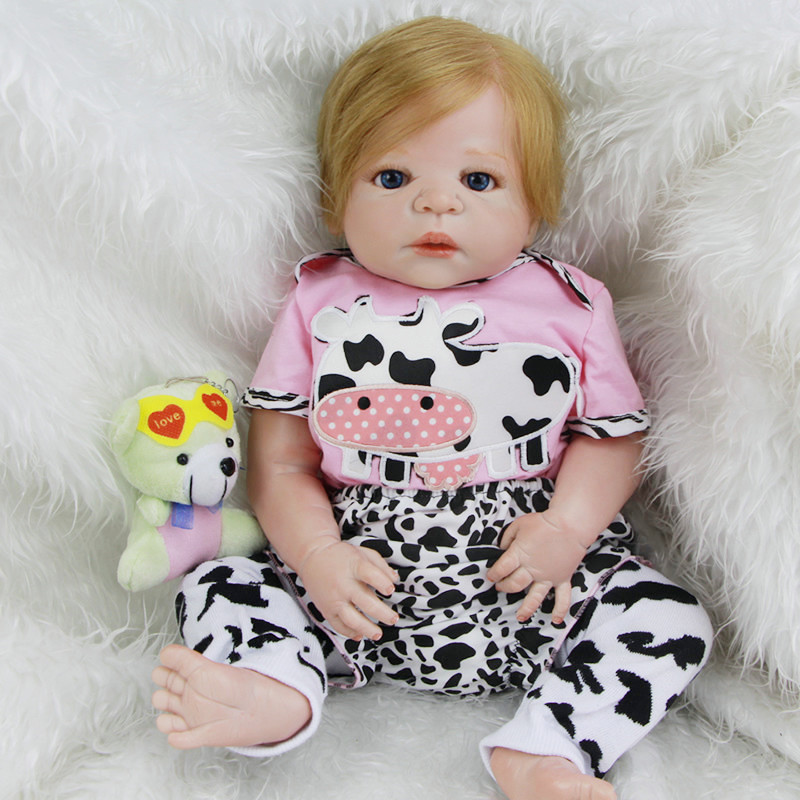 New Design Reborn Baby Doll 23 Inch Newborn Girl Babies With Rooted Real Human Hair Full Silicone Vinyl Dolls Kids Best Playmate new sale 22 inch 55cm full silicone reborn doll with tiger yellow clothes playmate silicone toddler reborn babies girl dolls