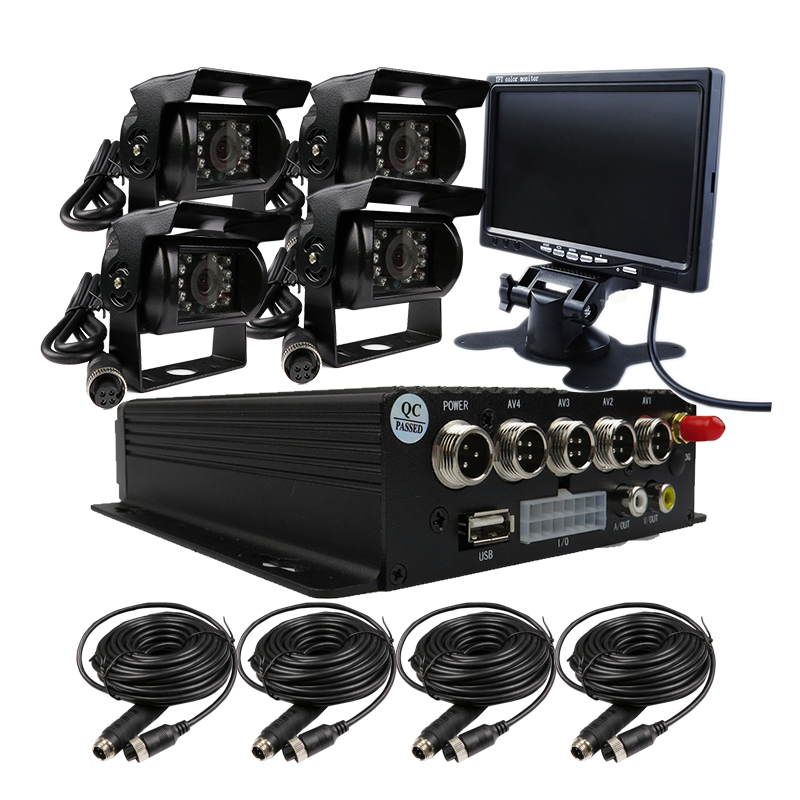 FREE SHIPPING 4CH GPS Track H.264 I/O SD Vehicle Car DVR Recorder MDVR Rear Side Front View Car Truck Camera System + 7 Monitor free shipping 4ch gps 3g track h 264 i o 256gb sd car mobile dvr recorder mdvr realtime monitor for phone pc for truck van