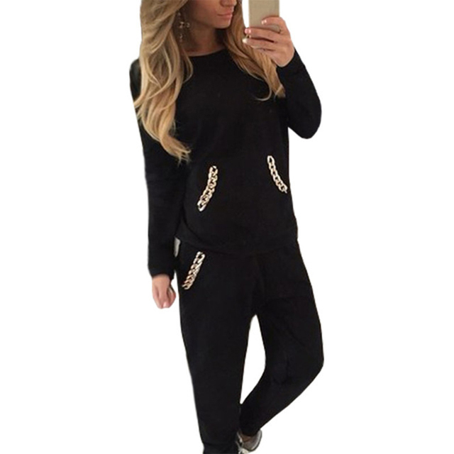 Women Two Piece Set Tracksuits Pants And Hoodies Set Long Sleeve Black Gray Sporting Suit Pockets Casual Sweatshirt Female