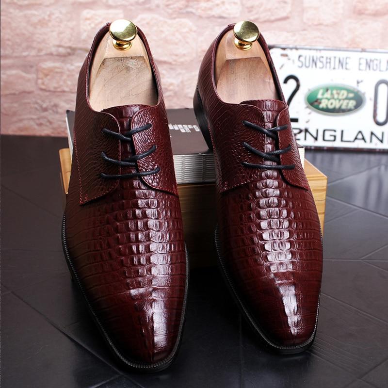 Black Square Toe British MenS Dress Shoes Crocodile Pattern Wedding Shoes Man Lace Up Stylish Brown MenS Genuine Leather Shoe