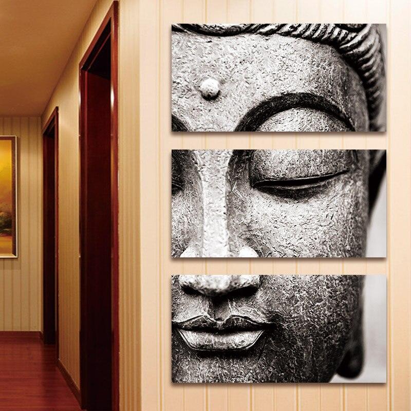 BANMU Leinwand Malerei Wand Kunst Grau 3 Panel Moderne Große Öl Stil Buddha  Wand Druck Auf Leinwand Hause Wohnzimmer Dekorationen