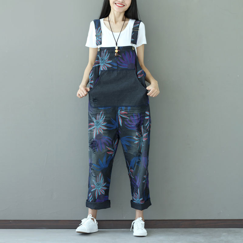 dd0be56222c6 Floral Ripped Denim Jumpsuit Women Jumpsuit Romper Print Flower Vintage Destroyed  Loose Casual Jeans Overalls Female Coveralls -in Jumpsuits from Women s ...