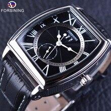 Forsining shanghai mouvement de luxe véritable bracelet en cuir étanche heure cadran affichage hommes automamatic montres top marque de luxe