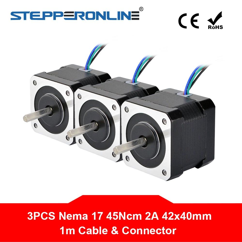 3 шт. Nema 17 шаговый двигатель 40 мм 45Ncm(64oz.in) 2A 4 свинцовый Nema17 шаг двигателя 1 м кабель для DIY 3D принтера CNC робота stepper motor 3pcs nema 17 3pcs3pcs nema 17   АлиЭкспресс
