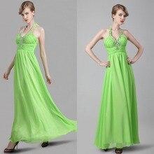 2015 neue Ankunft A-line Lange Chiffon Abendkleid Kleid Bodenlangen Sleeveless Abend-formales Kleid Vestido De Noche Falten F2116