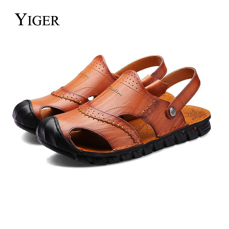 YIGER NEW Men's Genuine Leather sandale Casual Outdoor Beach Plišani - Muške cipele - Foto 1