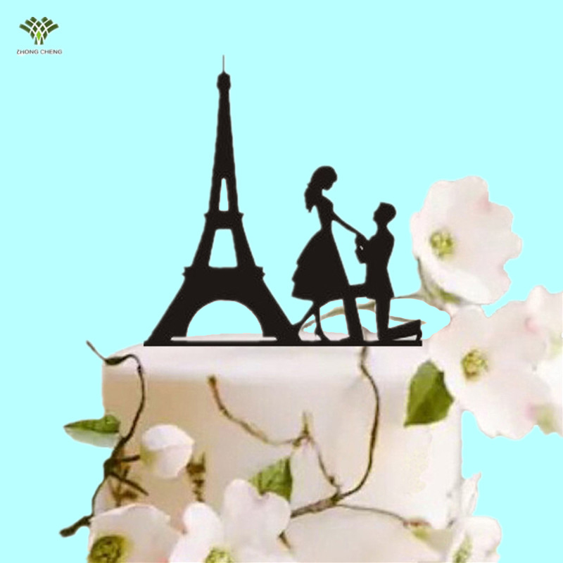 2017 Birthday Decorations Kids Baby Shower Wedding Decoration Cake Topper Proposed Picks Stand Acrylic Eiffel Tower Supplies