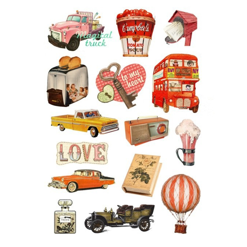 Vintage Stickers for Cars Notebook Decoration luggage trolley travel bag rock guitar skateboard Retro PVC Laptop Skins Sticker in Car Stickers from Automobiles Motorcycles