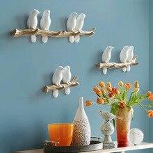Европейский стиль 3D декор с птицами крюк DIY простое пальто настенный крючок-вешалка гостиная стена на стене крючок ключ украшения для дома