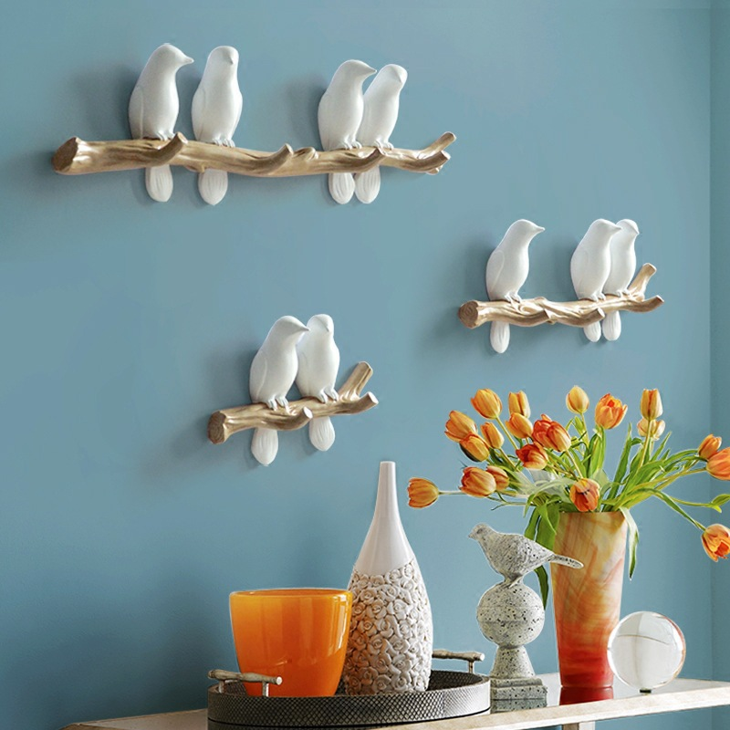 European Style 3D Bird Decor Hook DIY Simple Coat Wall Coat Rack Living Room Bedroom Wall Hanging Hook Key Frame Home Decoration