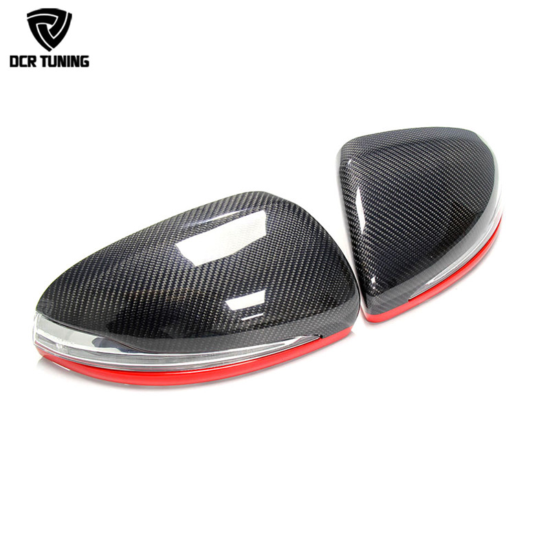 For 2014 + Mercedes - Benz C S E Class W205 C180 C200 C250 C260 W222 W213 Replacement Carbon Fiber Mirror With Red Line LHD Only