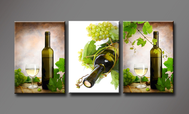 Wine Bottle And Grapes Vines, 3 Panels/Set HD Canvas Print