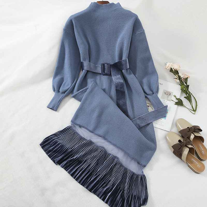2019 spring new turtleneck women dresses knitted velvet patchwork mesh solid loose elegant lady party dresses top quality