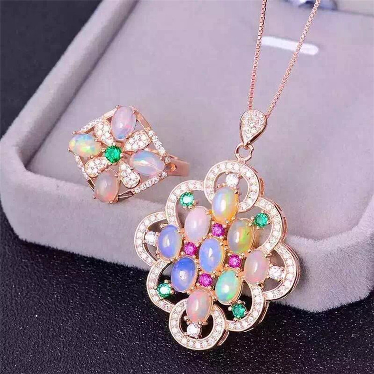 цена Wholesale S925 Sterling Silver Pendant inlaid precious Opal Ring nine seven fire suit nine