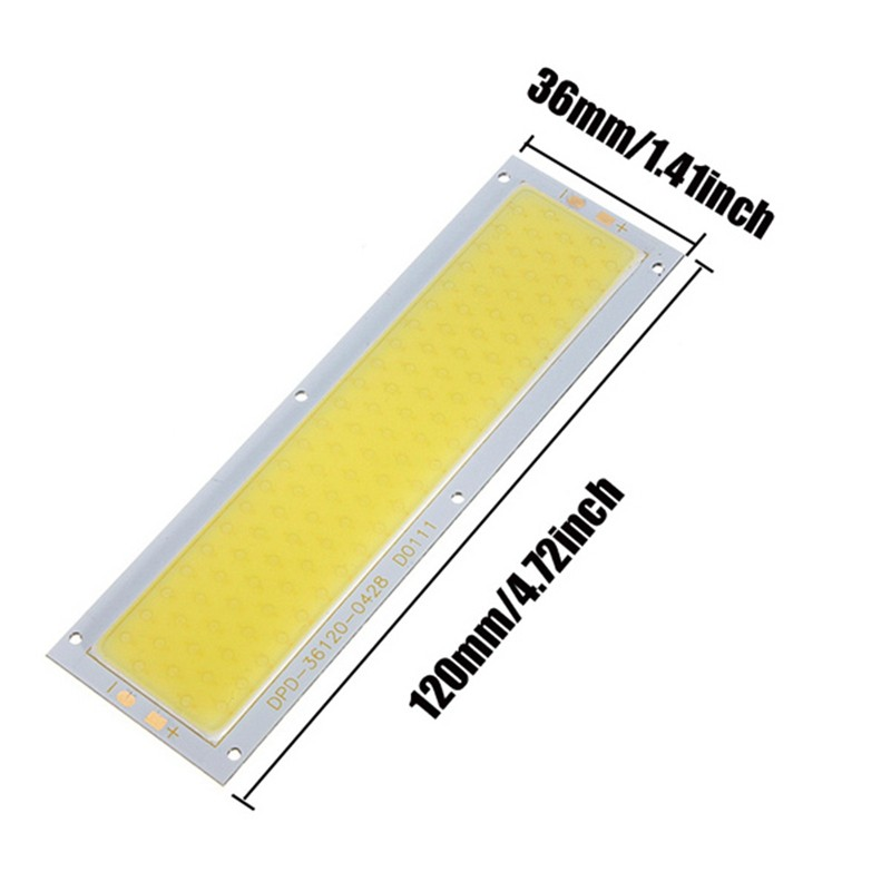 High Power DC12V 10W Cob led Strip Lamp Lights Bulb 1000LM For DIY Car Work Lights L120X36mm White 120mmx36mm warm white pure white cob led strip lamp lights bulb 10w 1000lm super bright 12v 24v for diy high quality