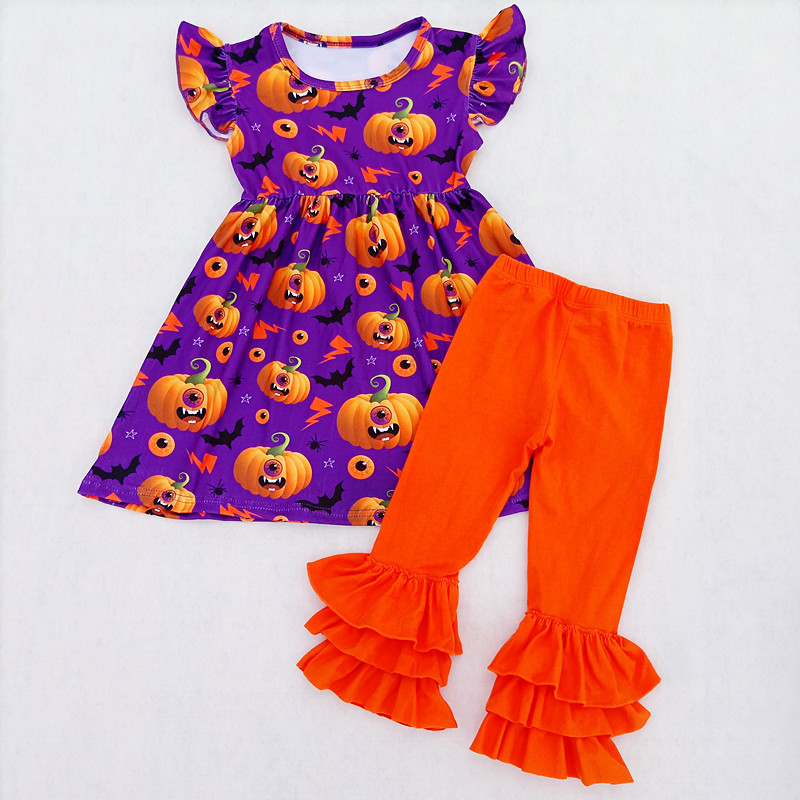 2018 Girls Halloween Boutique Outfits Toddler's Pumpkin Pattern Milksilk Pearl Top With Ruffle Cotton Solid Pants Girls Smocked pumpkin halloween pattern water absorption area rug