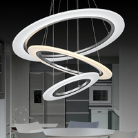 Modern Acrylic Chandelier Sliver Ring LED Lamp Stainless Steel Hanging Light Fixtures Adjustable Cristal LED Lustre