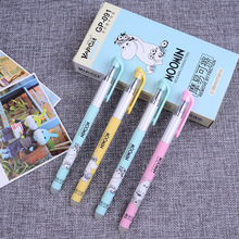 цены 3X Kawaii Cute Moomin Cartoon Gel Pen Erasable School Office Supply Student Stationery Writing Signing Kids Gift 0.38mm