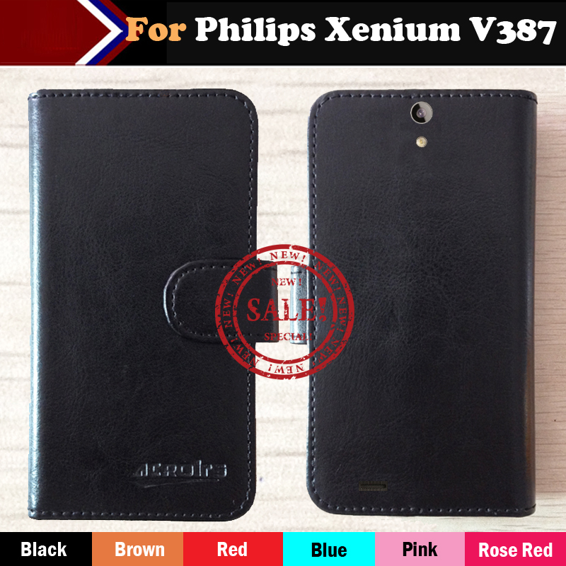 ! Business Phone Flip Leather Case For Philips Xenium V387 Magnetic Button Minimalist Style Protective Cover Card Slots image