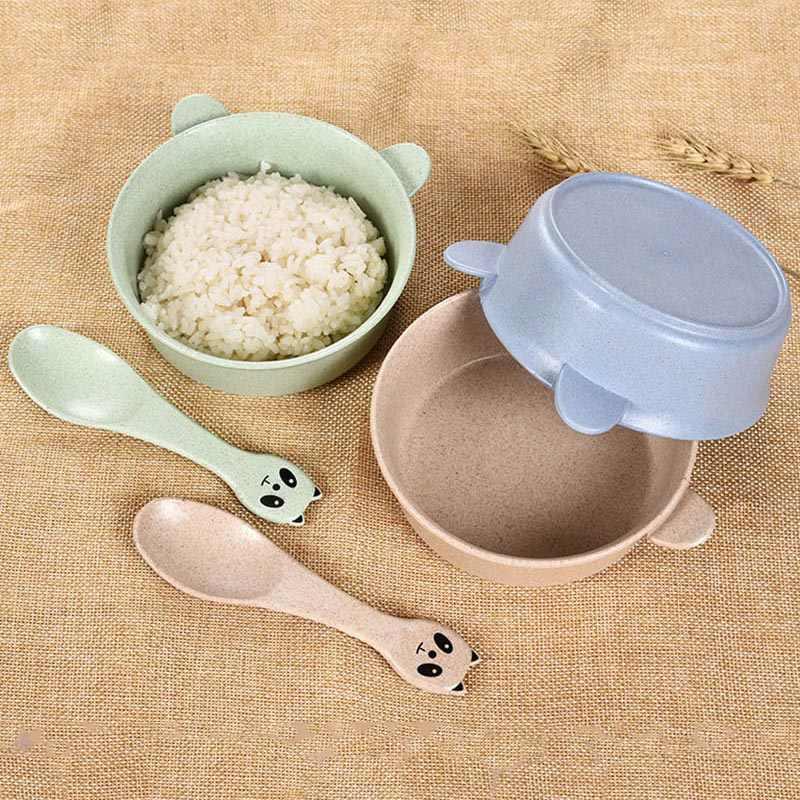 2 ชิ้น/เซ็ตเด็กชุดอาหาร Panda ข้าวสาลีเด็กจานเป็นมิตรกับสิ่งแวดล้อมเด็กอาหารเย็นจานชามช้อน BB5088