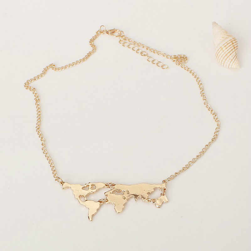 Hot New Fashion Punk Personality  Gold Colour World Map Pendant Necklace For Women Fine Jewelry Wholesale