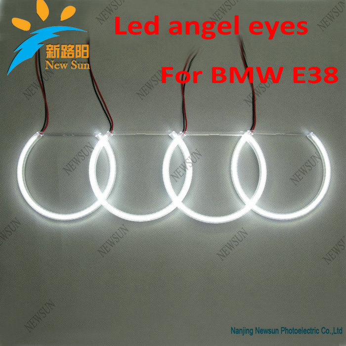 ФОТО Free shipping for BMW E38 Led angel eyes white halo ring, 4x131mm no warning Xenon Headlight SMD LED Angel Eyes Halo Rings Kit