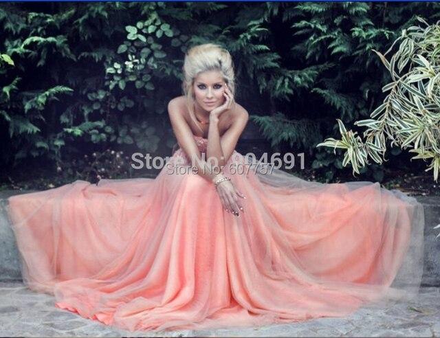 2015 Coral Prom vestidos novia sin tirantes más el tamaño que ...
