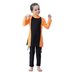 Image 2 - Синий купальник для маленьких девочек, детские мусульманские спортивные костюмы для плавания с длинным рукавом, водонепроницаемые детские толстовки для плавания для девочек, костюмы, пляжный купальник