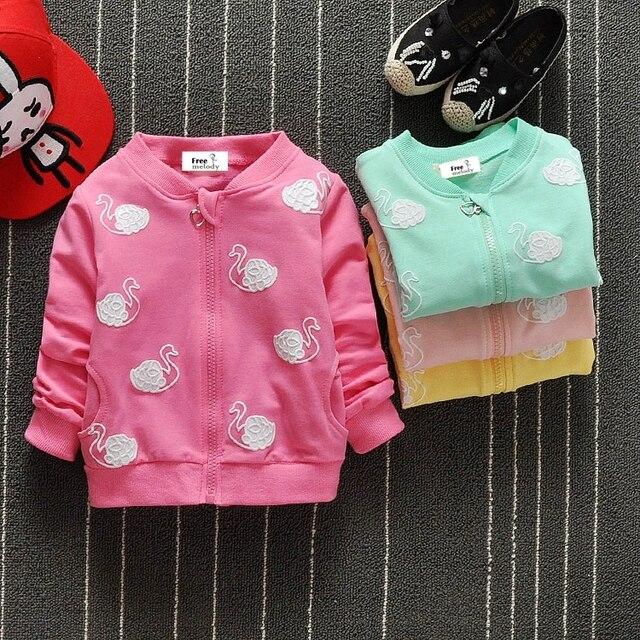 Детские Дети Девушки Весна и осень Audel хлопковая куртка на молнии лебедь печати пальто для 70-95 см Детский кардиган g164