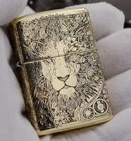 ZHY ZIP brand Pure copper punk lion lighters with Original box