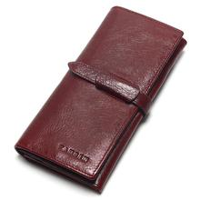 New ladies retro leather large-capacity wallet 100% pure high quality long wine red leath