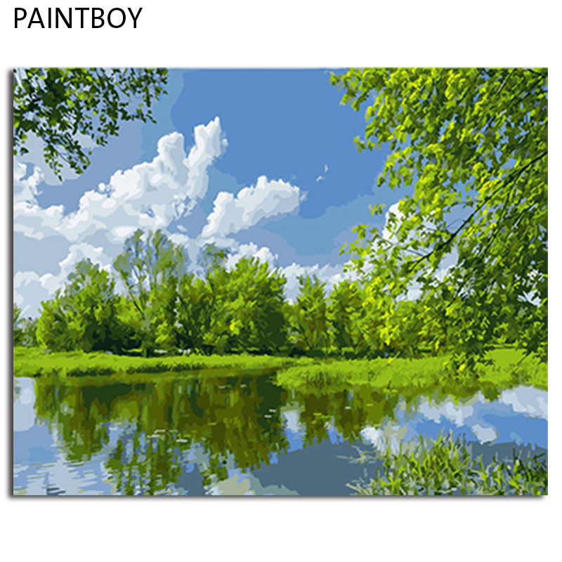 PAINTBOY Framed Landscape DIY Painting By Numbers On Canvas Oil Painting Home Decor For Living Room Wall Unique Gift