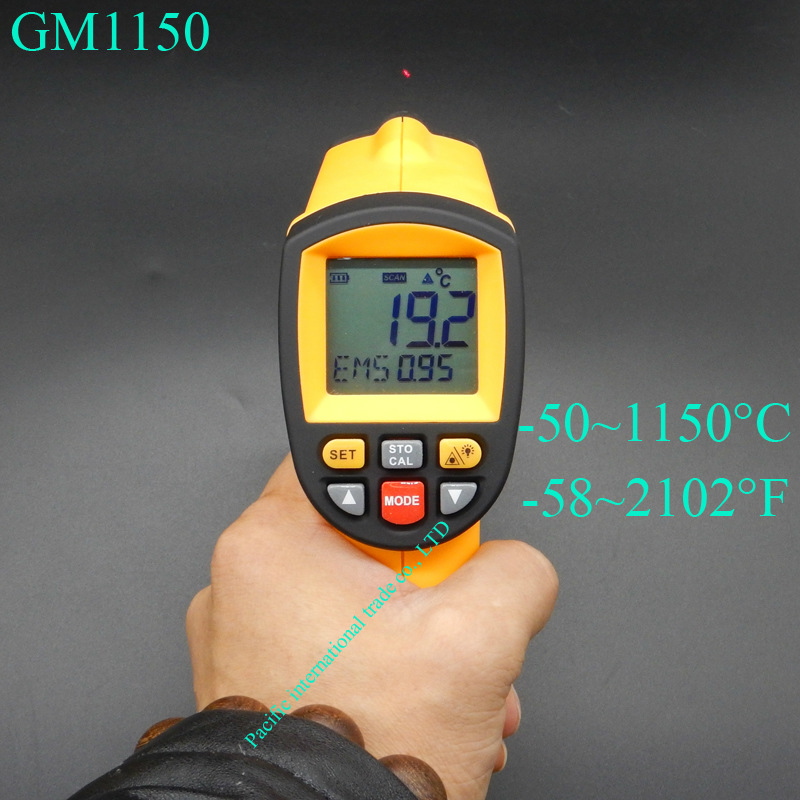 IR pyrometer Digital Infrared Thermometer    GM1150 Non-Contact Laser LCD Display -50~1150 Degree цена 2016