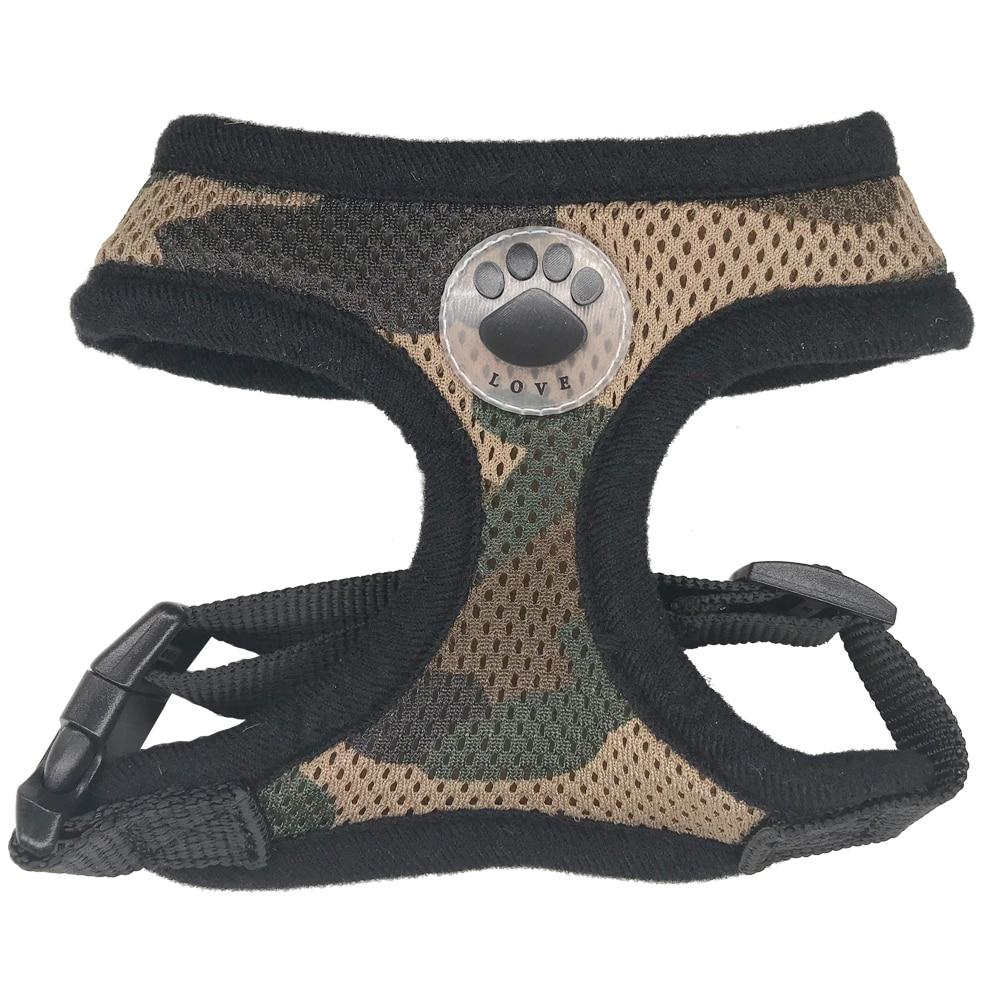 Wholesale 12pcs lot LOVE Paw Soft Breathable Dog Harness Nylon Mesh Vest for Dogs Adjustable Cat