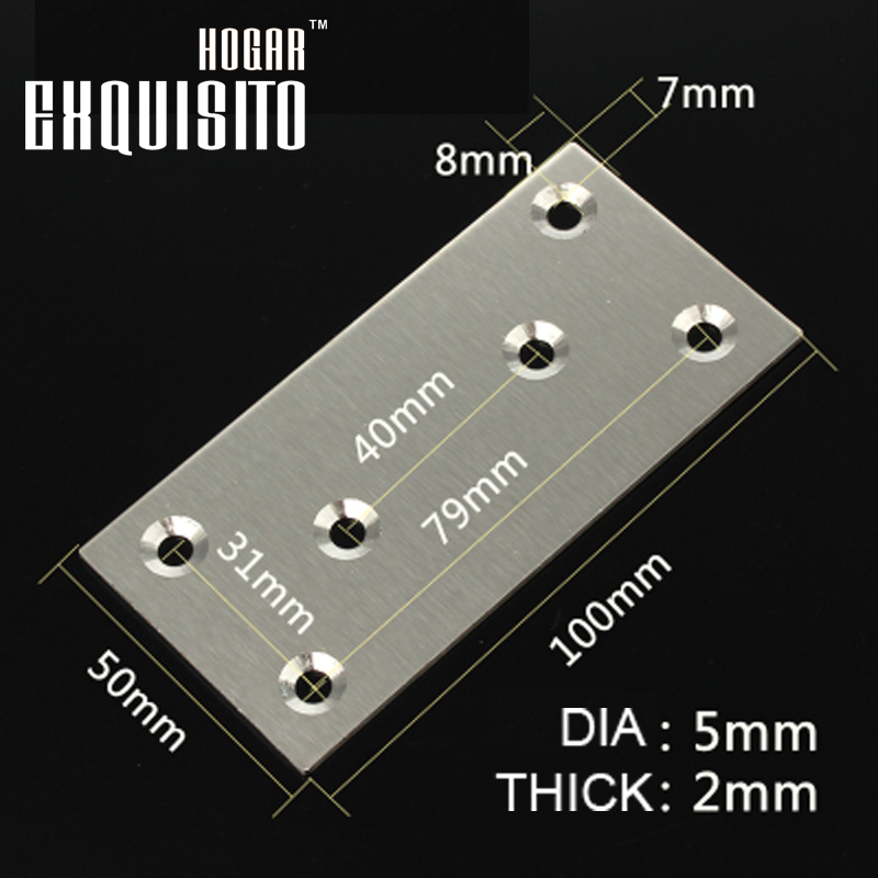 Stainless Steel Square Straight Film Angle Plate Floor Care Angle Iron Furniture Hardware Accessories Fixed GH100X50X2 1 pair 4 inch stainless steel door hinges wood doors cabinet drawer box interior hinge furniture hardware accessories m25