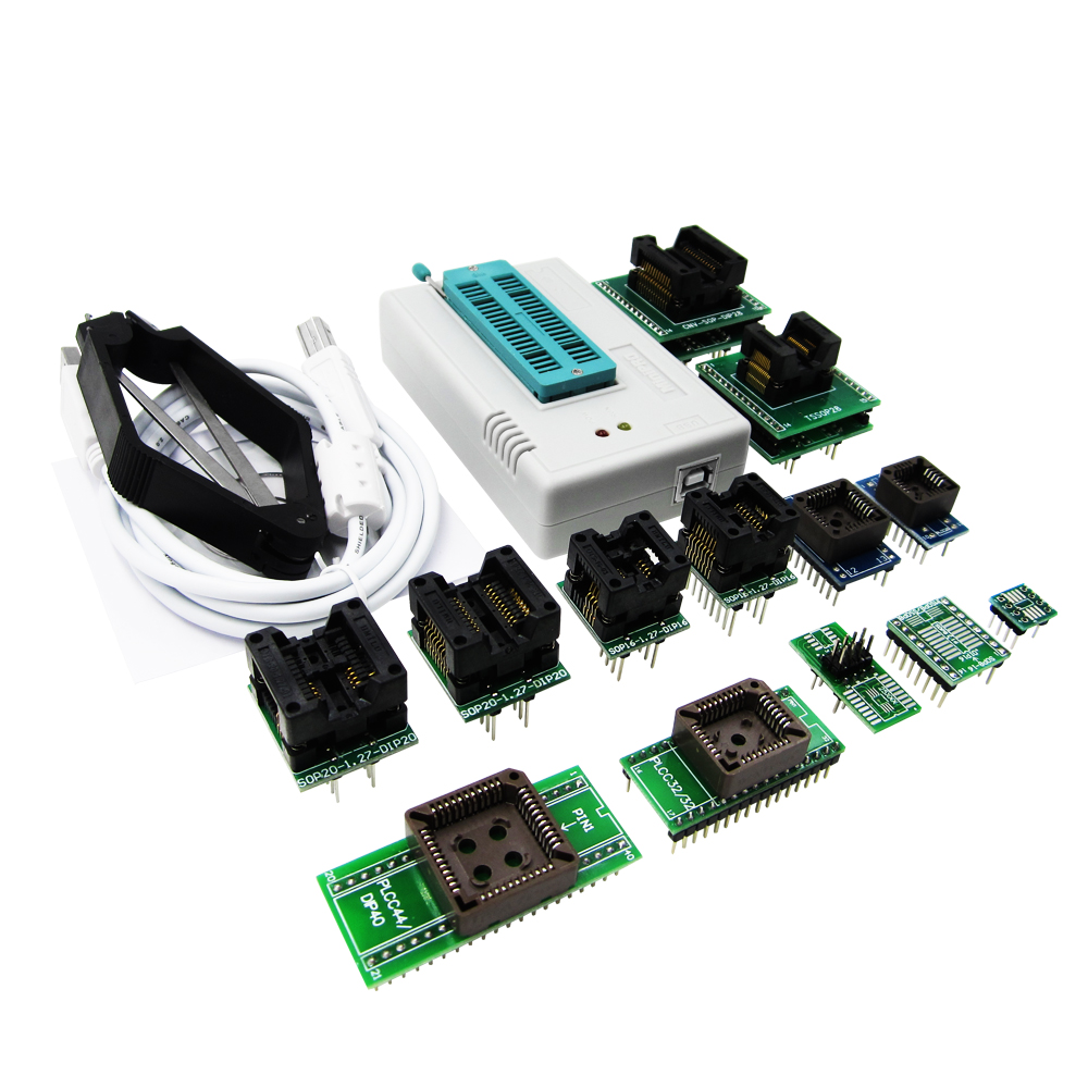 TL866CS programmer+13 universal adapters PLCC Extractor TL866 AVR PIC Bios 51 MCU Flash EPROM Programmer Russian English manual shipping by dhl 60 pcs genius g540 eprom mcu gal pic usb universal programmer