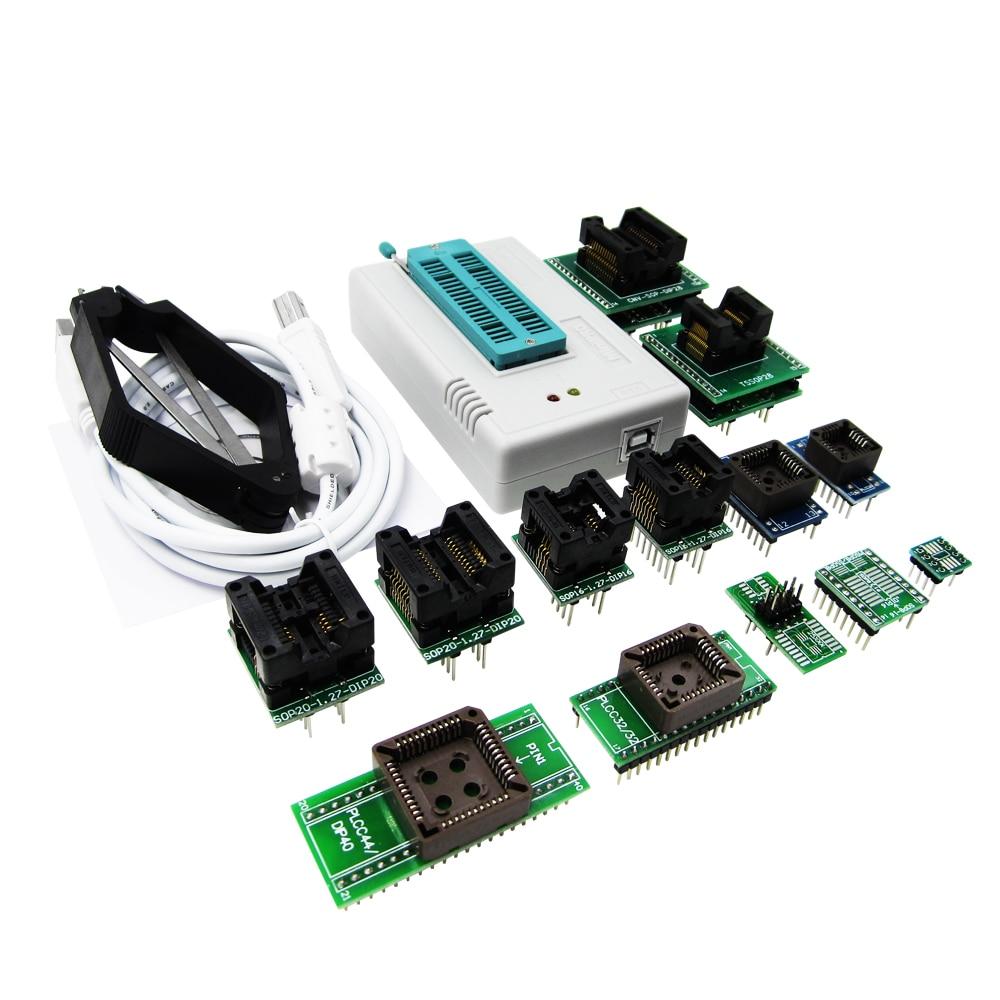 TL866II Plus tl866 Universal minipro Programmer ICSP Support FLASH\EEPROM\MCU SOP\PLCC\TSOP +13 adapters tl866 newest v6 1 tl866cs programmer 21 adapters ic clip high speed tl866 avr pic bios 51 mcu flash eprom programmer