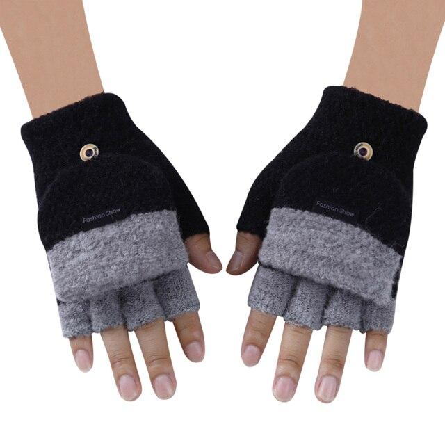 Knitted Fingerless Gloves Autumn Winter Warm 2