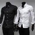 2016 Preto Branco Colarinho Turn-down Dos Homens de Manga Comprida Camisa de Vestido Magro Decote Mens Casual Fit Elegante Camisas Camisa Masculina 7010