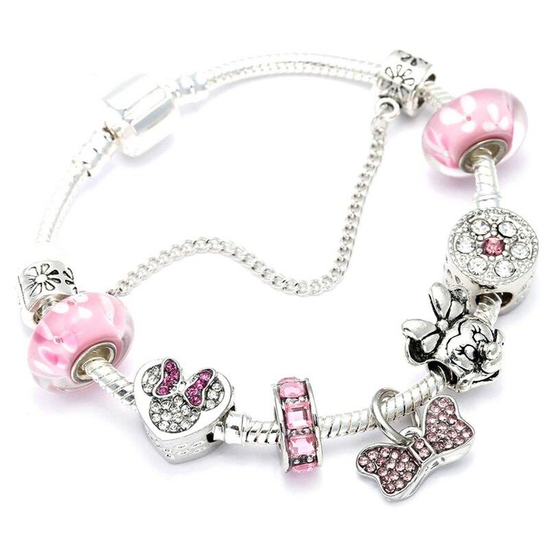 Us 3 27 Animal Mickey Charm Bracelets Bangles Women Jewelry Minnie Pink Bow Knot Pendant Brand Bracelet Diy Handmade For Gift In