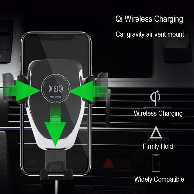 VRURC <font><b>Car</b></font> Wireless Charger For iPhone X 8 Plus <font><b>Car</b></font> Air Vent Gravity <font><b>Holder</b></font> Mount Fast Wireless <font><b>Charging</b></font> Pad For Samsung S8 Plus