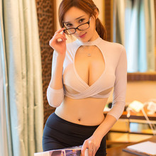Sexy Women Secretary Uniform Suit Lingerie Top Mini Skirt Set Erotic Costumes Office Lady Cosplay(China)