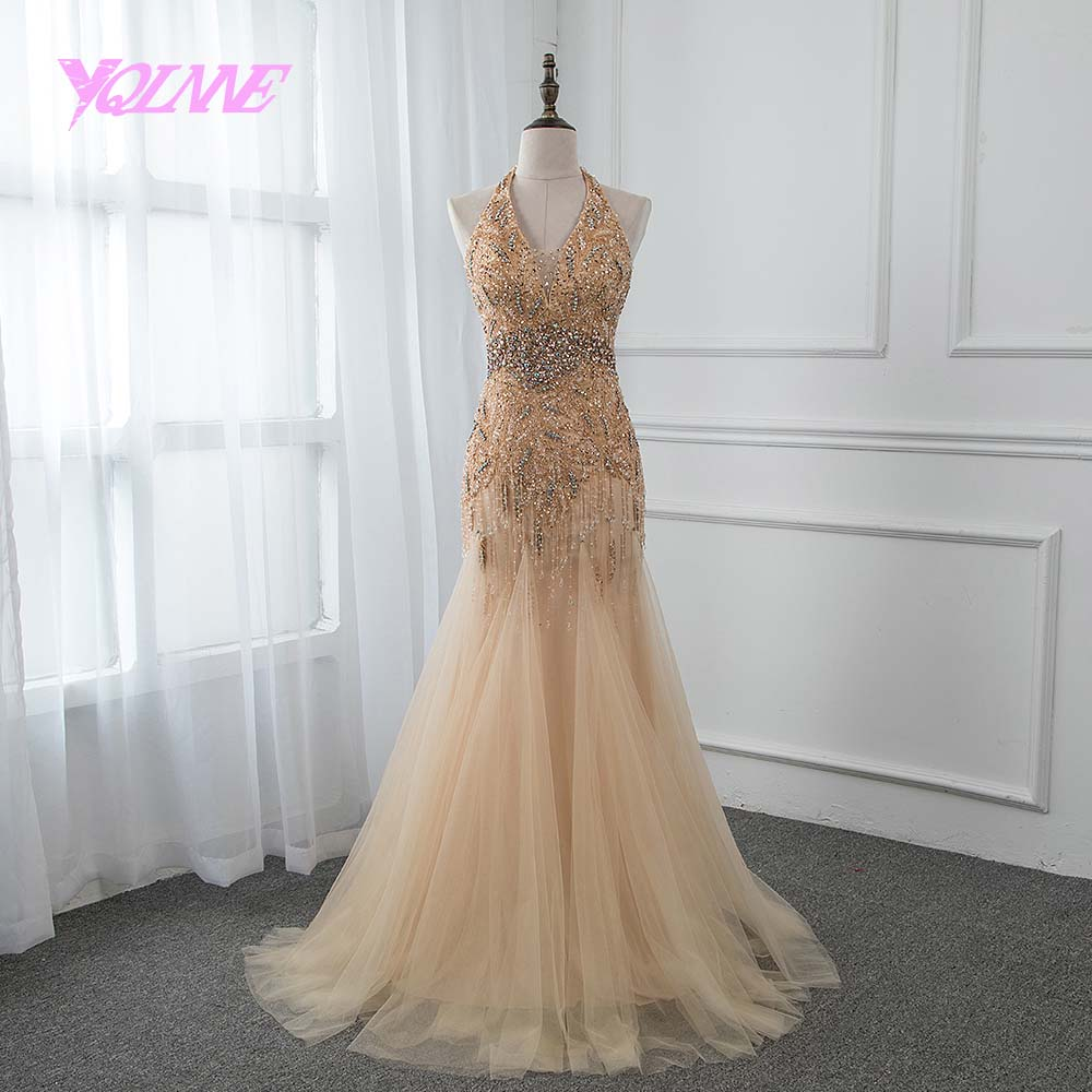 YQLNNE 2019 Halter Golden Long Rhinestones   Evening     Dress   Trumpet Backless Prom Gown Vestido De Festa Pageant   Dresses