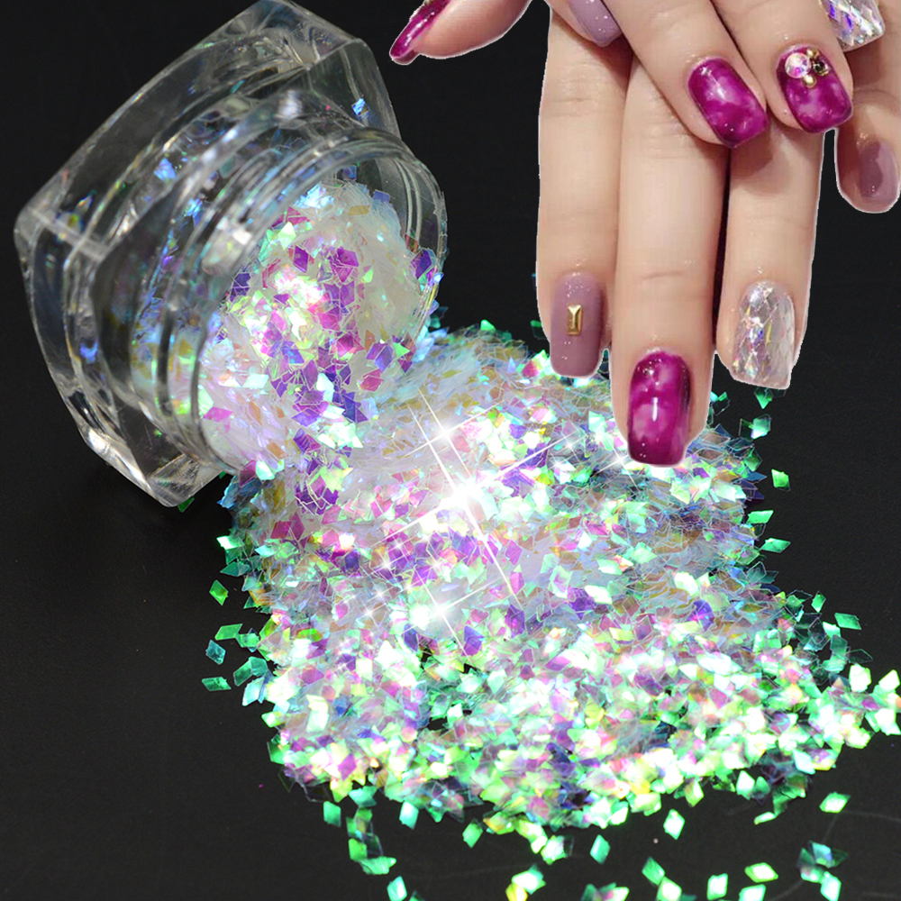 ▽New Arrival 1bottle Colorful Laser 3D Acrylic Nails Toes Tips ...