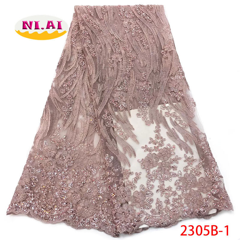 Sequin Embroidery Lace Nigerian Blush Pink Lace Fabrics African Lace Fabric 2019 With Flower MR2305B