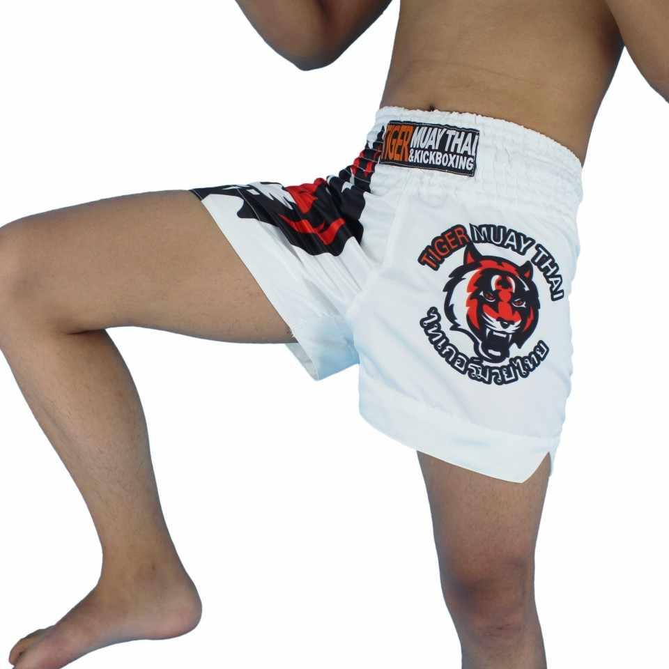 MMA Putih Tiger Muay Thai Pertandingan Tinju Sanda Latihan Pertempuran Celana Pendek Muay Thai Pakaian Celana Pendek Tinju MMA Muay Thai Pakaian