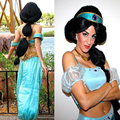 Top Quality Anime Aladdin Jasmine princess Long Black Cosplay Wig Styled Heat Resistance Halloween Hair Free shipping