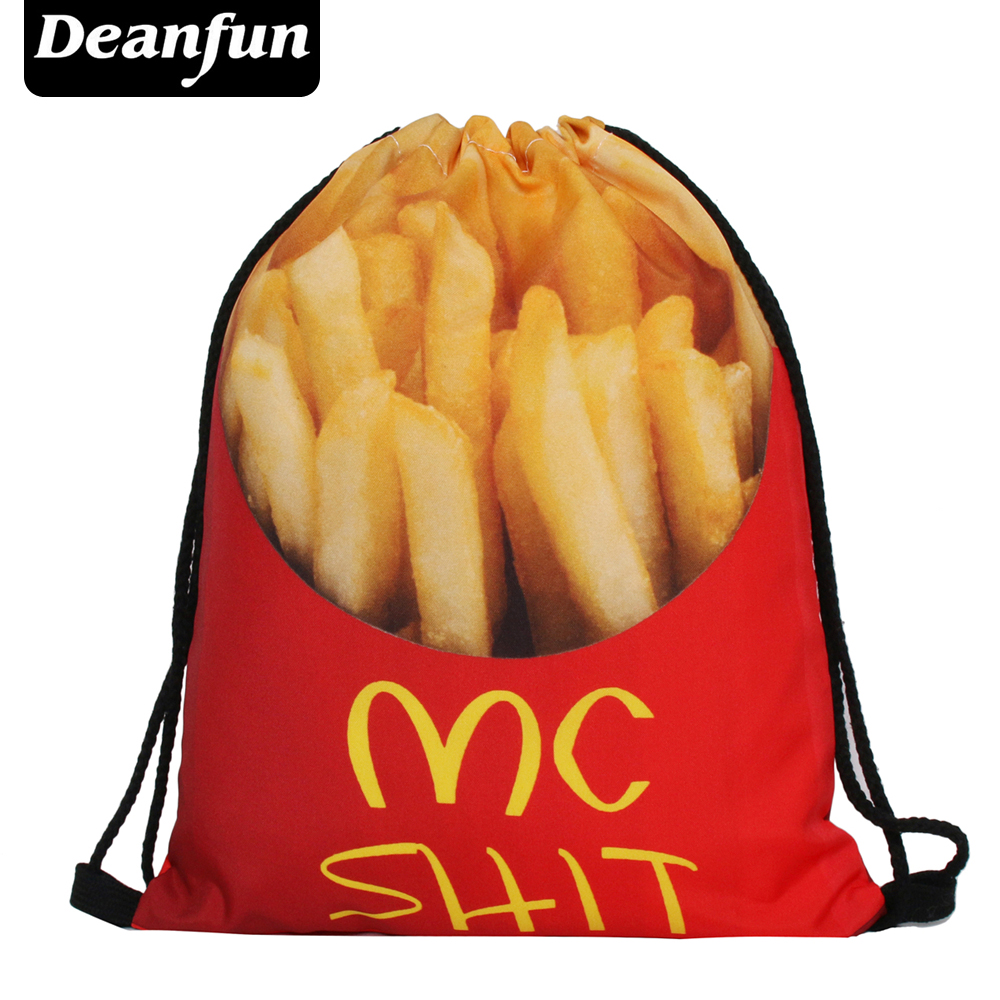 Deanfun Fries Drawstring Bags 3D Printed Food Pattern Women School Bag SKD 46 drawstring bags